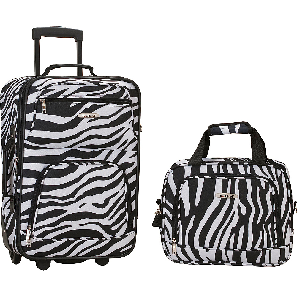 Rockland Luggage Rio 2 Piece Carry On Luggage Set Zebra - Rockland Luggage Luggage Sets - Luggage, Luggage Sets