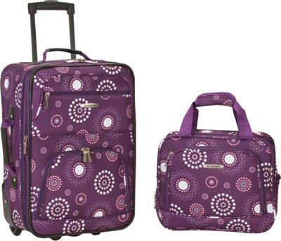 Rockland Luggage Rio 2 Piece Carry On Luggage Set Purple Pearl - Rockland Luggage Luggage Sets