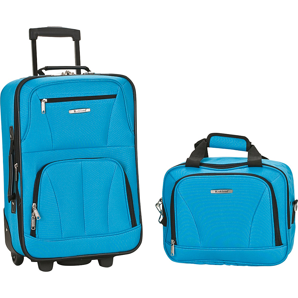 Rockland Luggage Rio 2 Piece Carry On Luggage Set Turquoise - Rockland Luggage Luggage Sets