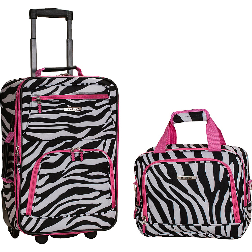 Rockland Luggage Rio 2 Piece Carry On Luggage Set Pink Zebra - Rockland Luggage Luggage Sets