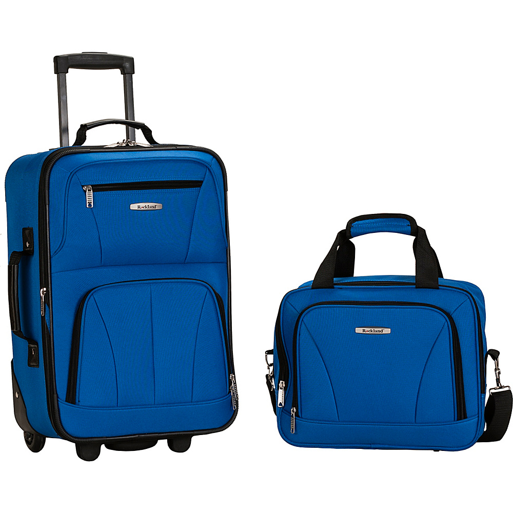 Rockland Luggage Rio 2 Piece Carry On Luggage Set Blue - Rockland Luggage Luggage Sets