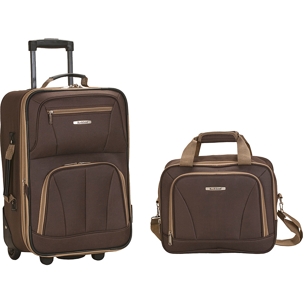 Rockland Luggage Rio 2 Piece Carry On Luggage Set Brown - Rockland Luggage Luggage Sets