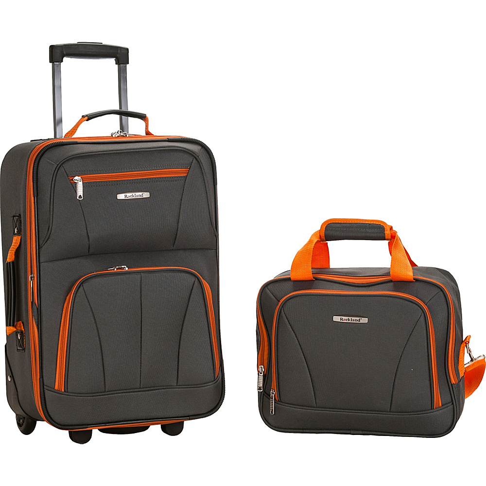 Rockland Luggage Rio 2 Piece Carry On Luggage Set Charcoal - Rockland Luggage Luggage Sets