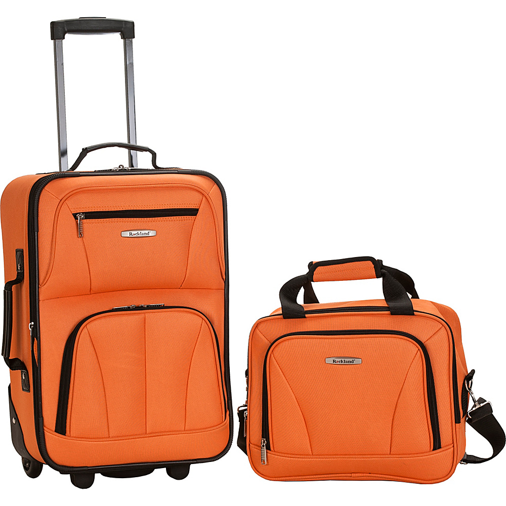 Rockland Luggage Rio 2 Piece Carry On Luggage Set Orange - Rockland Luggage Luggage Sets