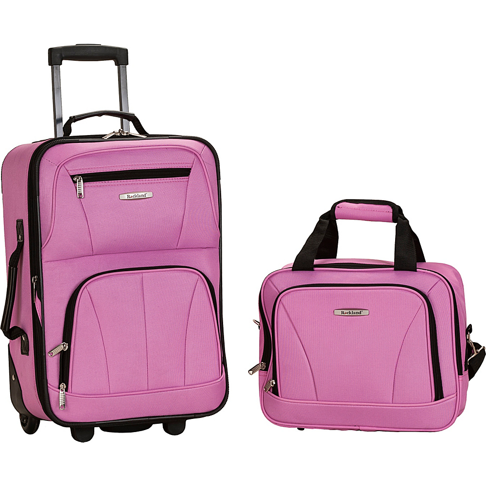 Rockland Luggage Rio 2 Piece Carry On Luggage Set Pink - Rockland Luggage Luggage Sets