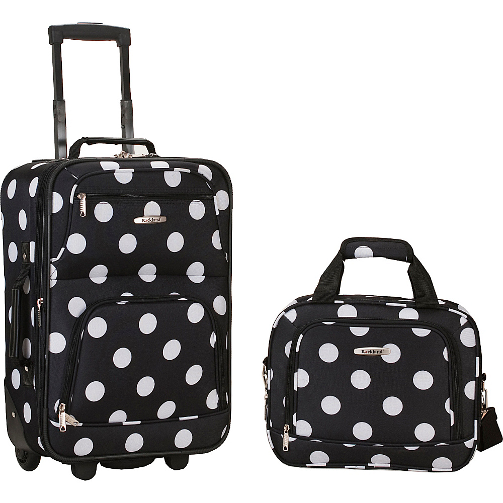 Rockland Luggage Rio 2 Piece Carry On Luggage Set Black Dot - Rockland Luggage Luggage Sets