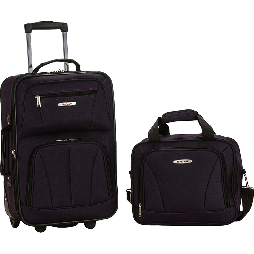 Rockland Luggage Rio 2 Piece Carry On Luggage Set Purple - Rockland Luggage Luggage Sets