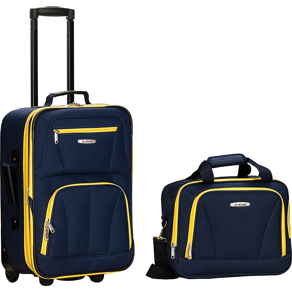 Rockland Luggage Rio 2 Piece Carry On Luggage Set Navy - Rockland Luggage Luggage Sets