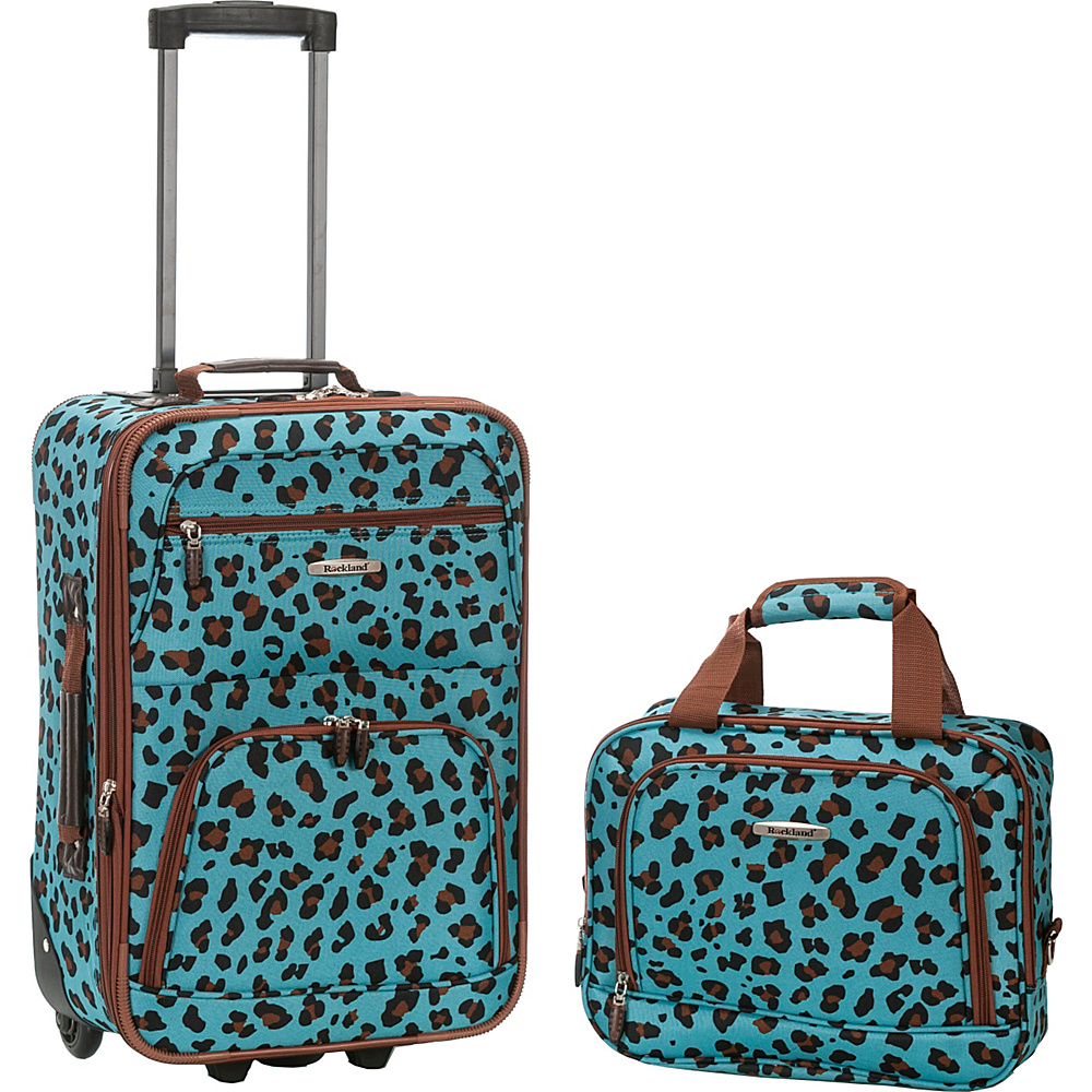 Rockland Luggage Rio 2 Piece Carry On Luggage Set BLUE LEOPARD Rockland Luggage Luggage Sets