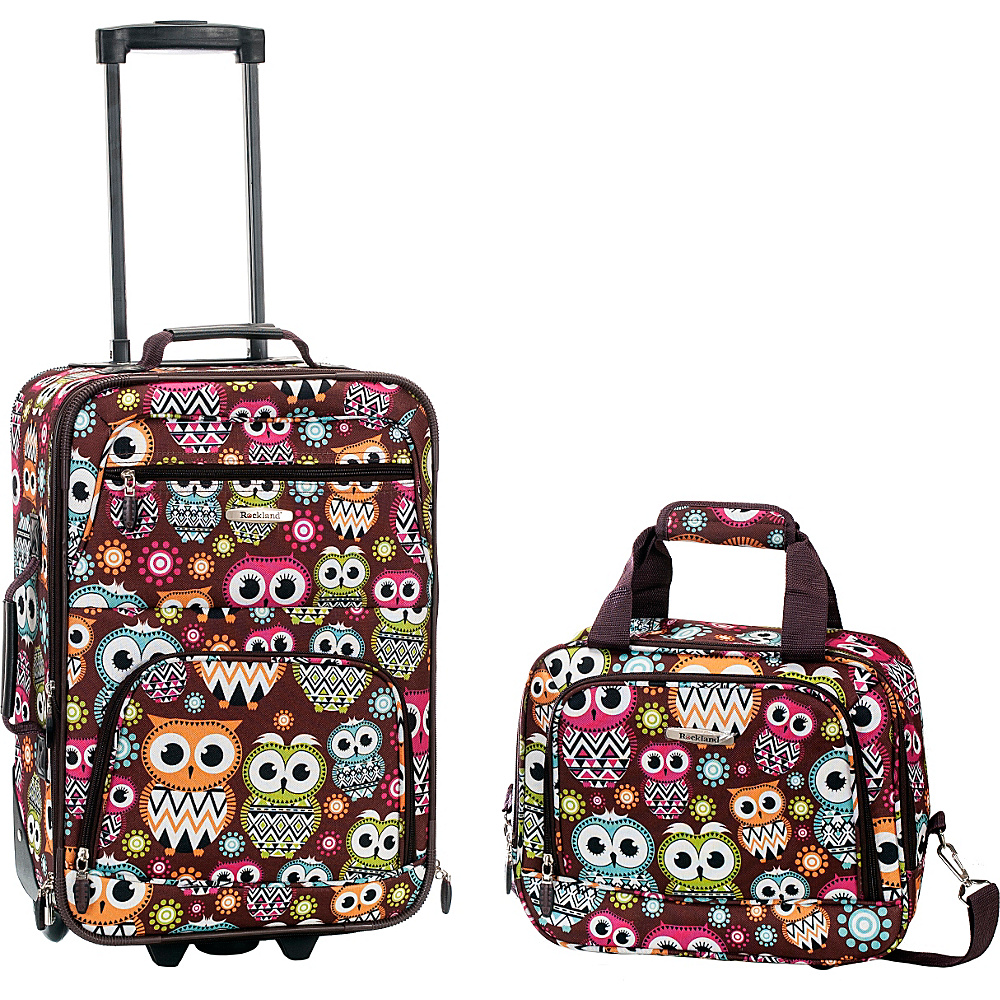 Rockland Luggage Rio 2 Piece Carry On Luggage Set OWL Rockland Luggage Luggage Sets