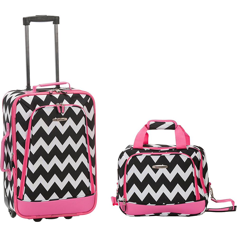 Rockland Luggage Rio 2 Piece Carry On Luggage Set PINKCHEVRON Rockland Luggage Luggage Sets