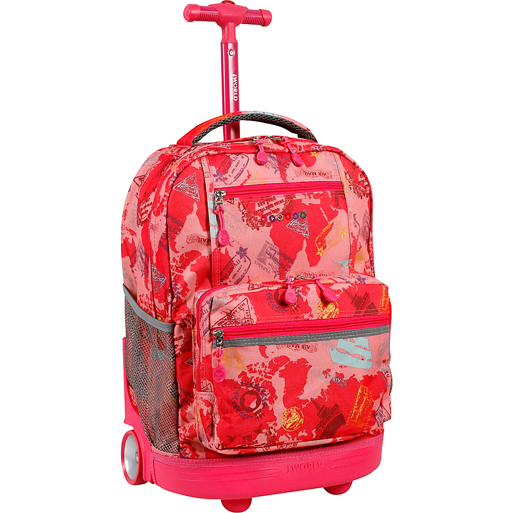 J World New York Sunset Rolling Backpack Pink Atlas - J World New York Rolling Backpacks - Backpacks, Rolling Backpacks