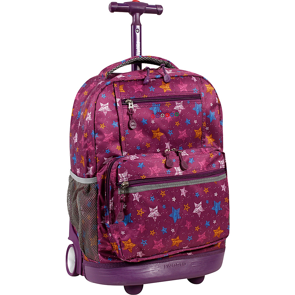 J World New York Sunset Rolling Backpack Star Purple - J World New York Rolling Backpacks - Backpacks, Rolling Backpacks