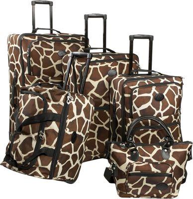 American Flyer Animal Print 5-Piece Luggage Set Giraffe B...
