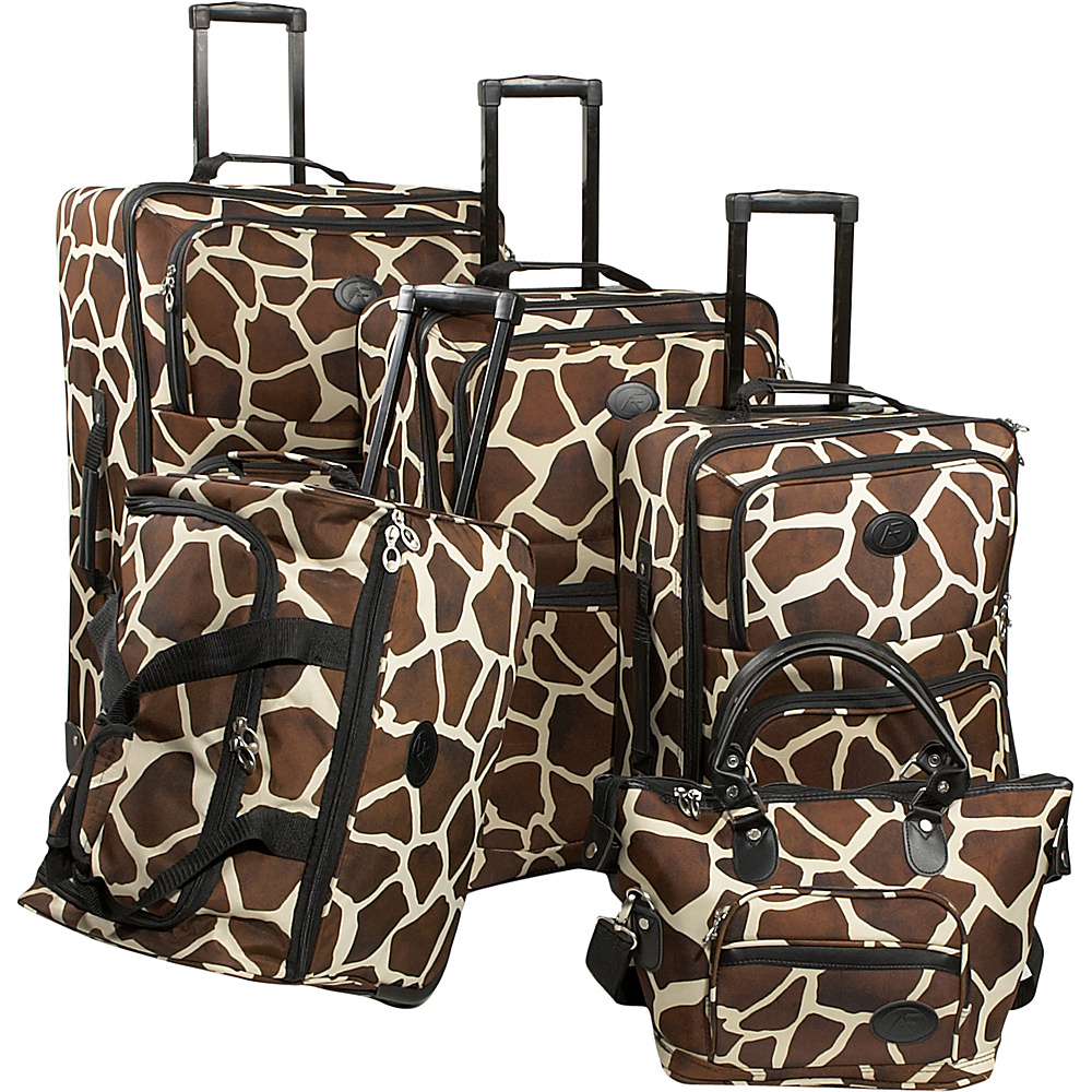 American Flyer Animal Print 5-Piece Luggage Set Giraffe Brown - American Flyer Luggage Sets