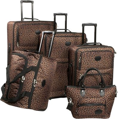 American Flyer Animal Print 5-Piece Luggage Set Leopard -...