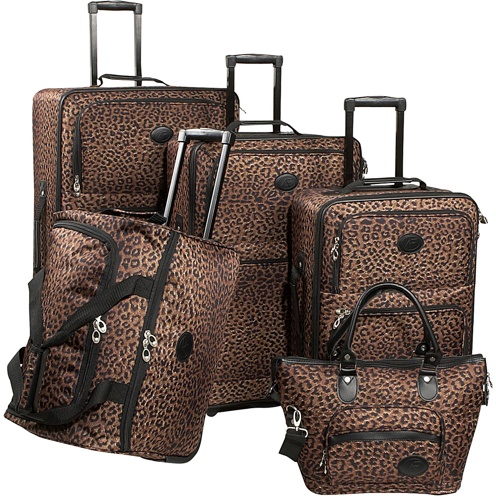 American Flyer Animal Print 5-Piece Luggage Set Leopard - American Flyer Luggage Sets