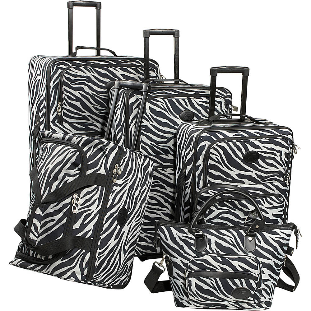 American Flyer Animal Print 5-Piece Luggage Set - Zebra