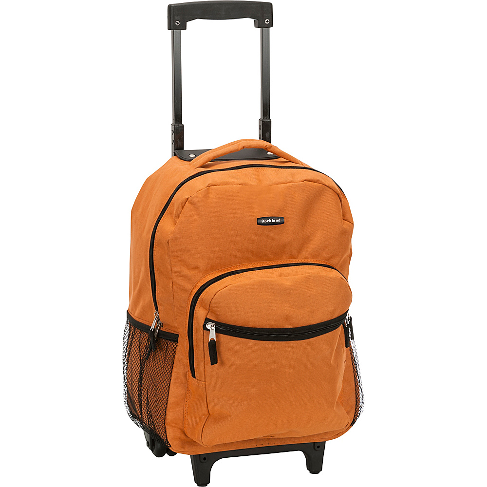 """Rockland Luggage Roadster 17"""" Rolling Backpack Orange - Rockland Luggage Rolling Backpacks"""