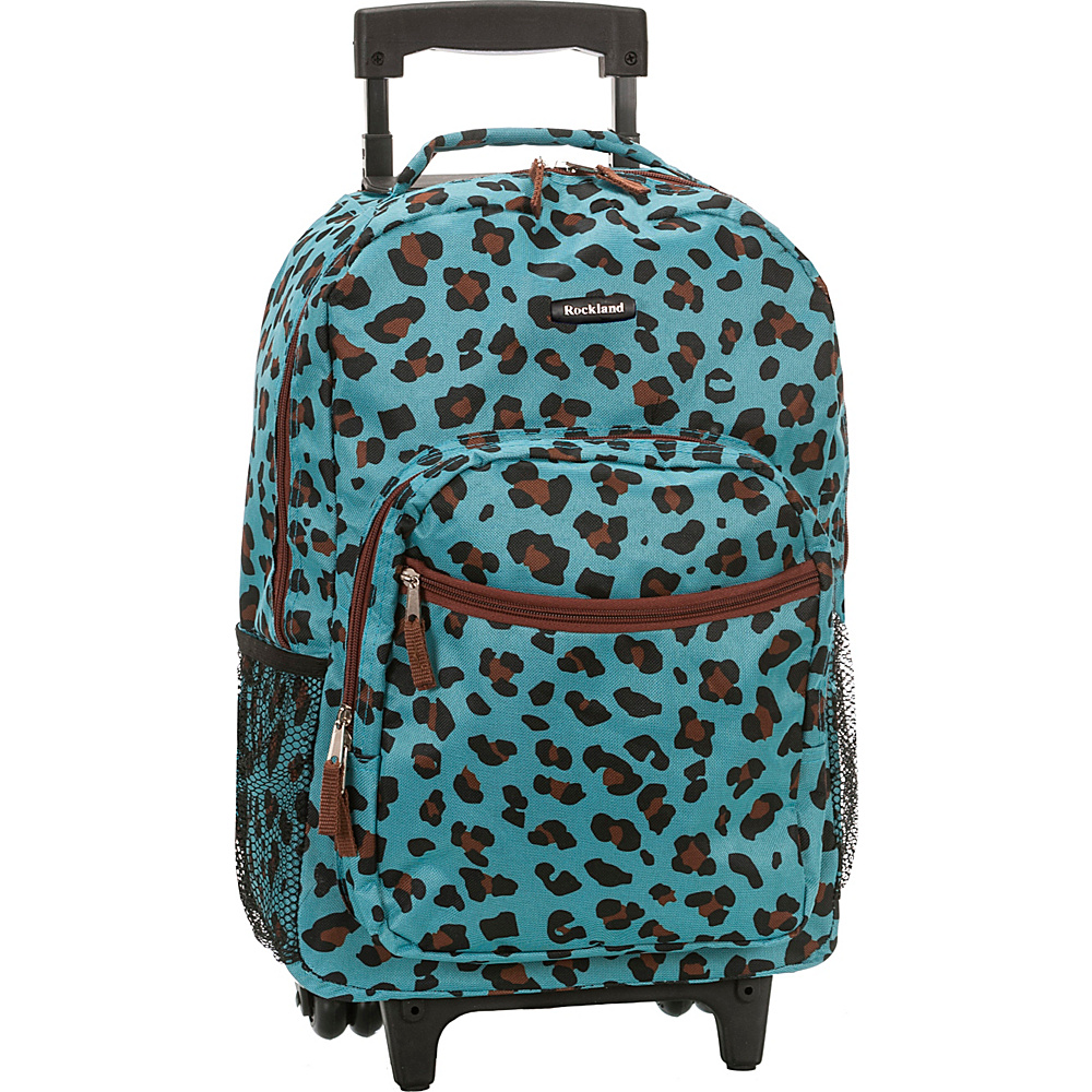 Rockland Luggage Roadster 17 Rolling Backpack BLUE LEOPARD Rockland Luggage Rolling Backpacks