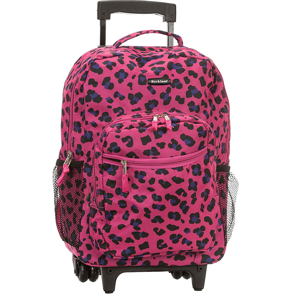Rockland Luggage Roadster 17 Rolling Backpack MAGENTA LEOPARD Rockland Luggage Rolling Backpacks