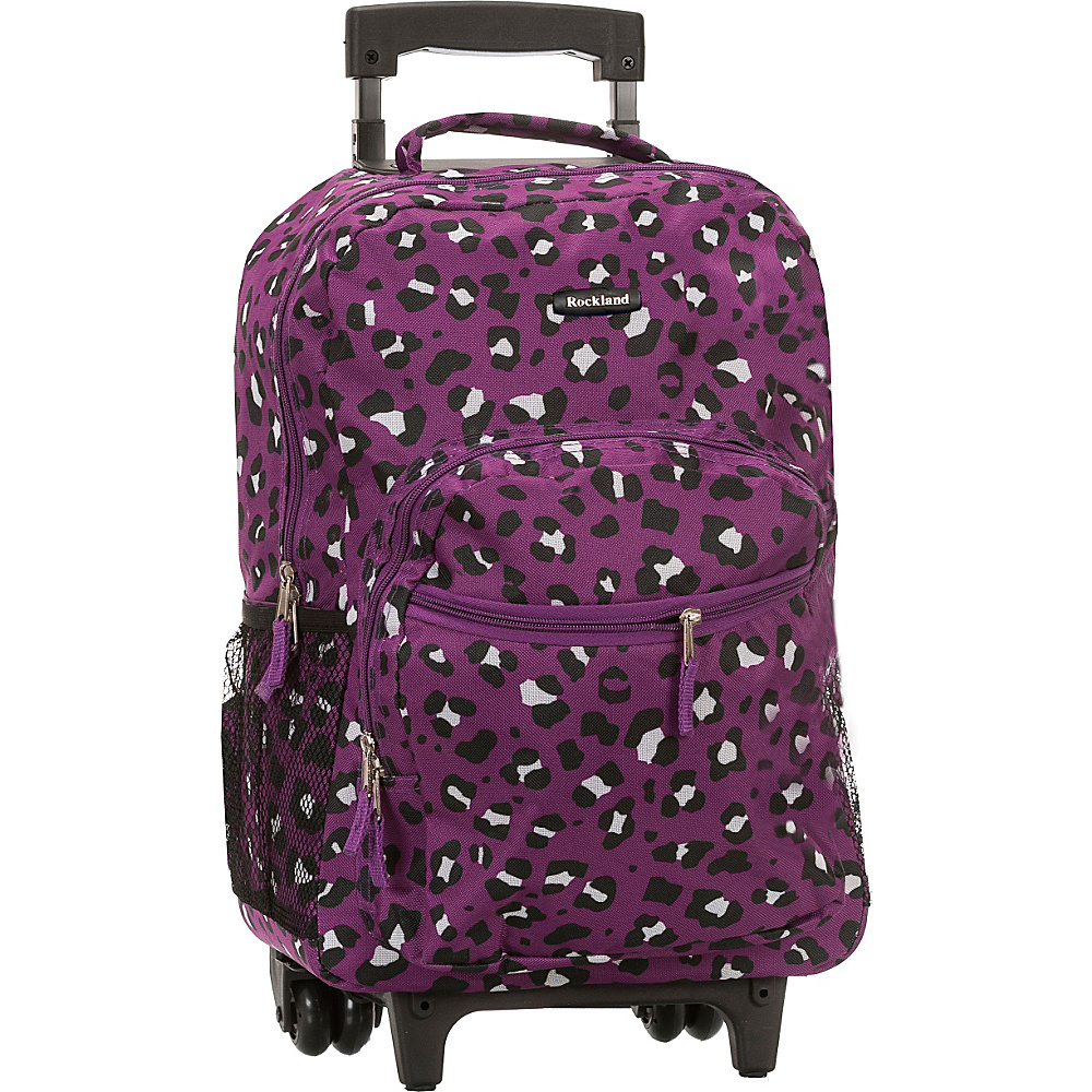 Rockland Luggage Roadster 17 Rolling Backpack Purple Leopard Rockland Luggage Rolling Backpacks
