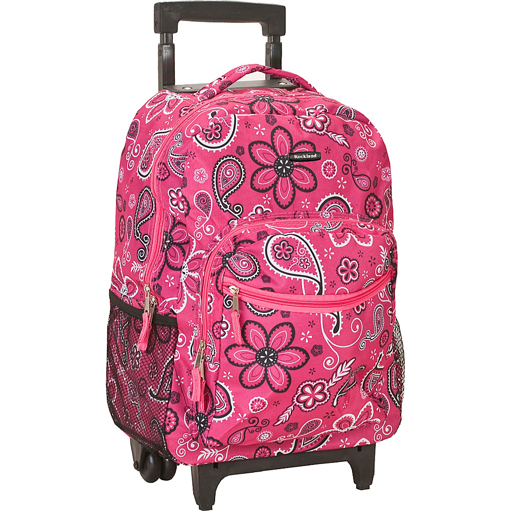 "Rockland Luggage Roadster 17"" Rolling Backpack Pink Bandana - Rockland Luggage Rolling Backpacks"