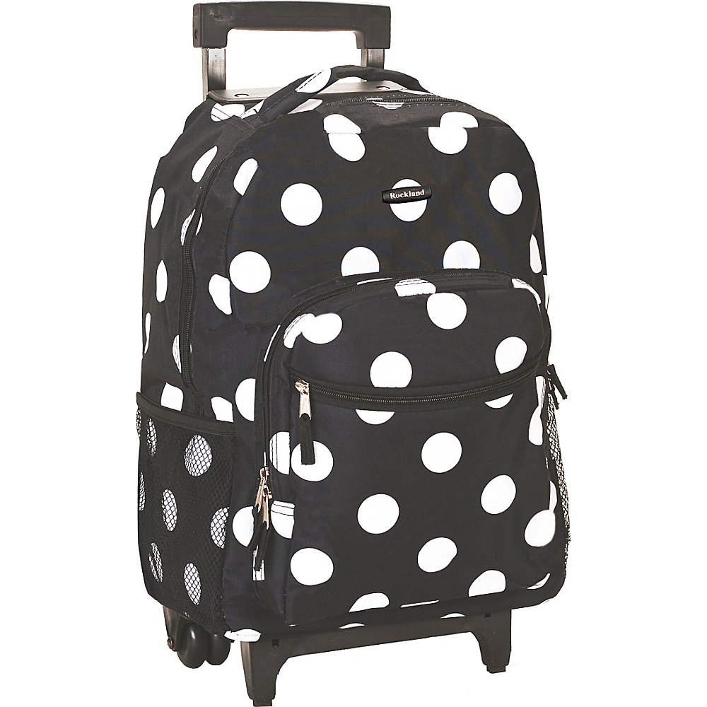 "Rockland Luggage Roadster 17"" Rolling Backpack Black Dot - Rockland Luggage Rolling Backpacks"