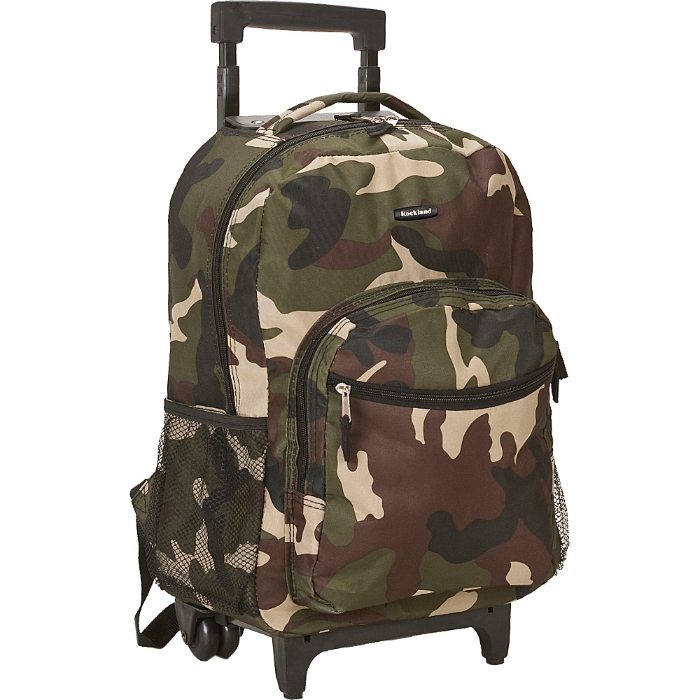 "Rockland Luggage Roadster 17"" Rolling Backpack Camouflage Green - Rockland Luggage Rolling Backpacks"