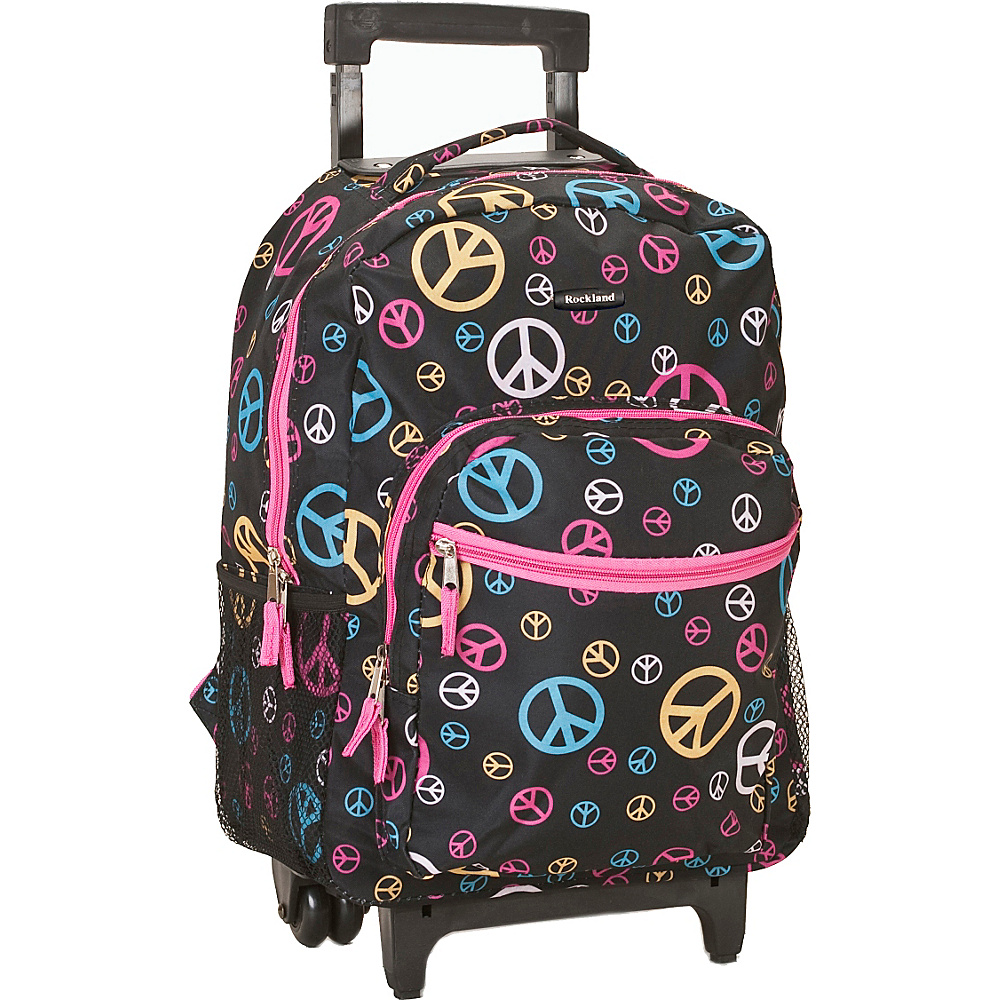 "Rockland Luggage Roadster 17"" Rolling Backpack Peace - Rockland Luggage Rolling Backpacks"