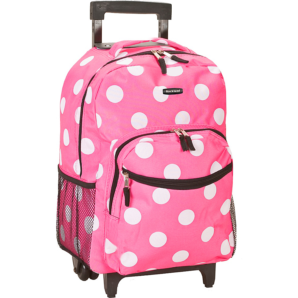"Rockland Luggage Roadster 17"" Rolling Backpack Pink Dot - Rockland Luggage Rolling Backpacks"