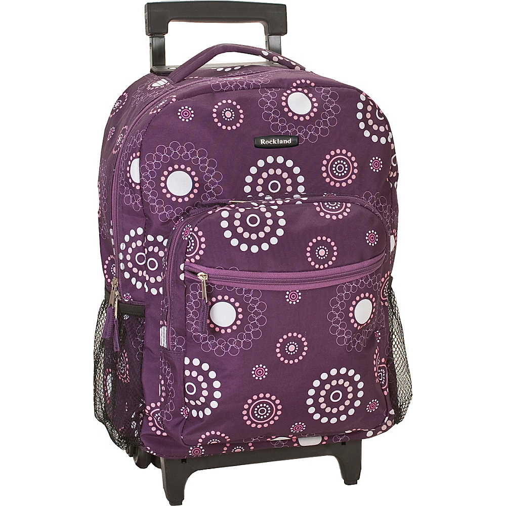 "Rockland Luggage Roadster 17"" Rolling Backpack Purple Pearl - Rockland Luggage Rolling Backpacks"