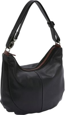 Derek Alexander Two Top Zip Hobo - BLACK/BRANDY