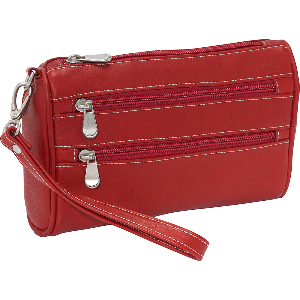 Le Donne Leather Two Zip Wristlet Clutch - Red - Women's SLG, Women's Wallets