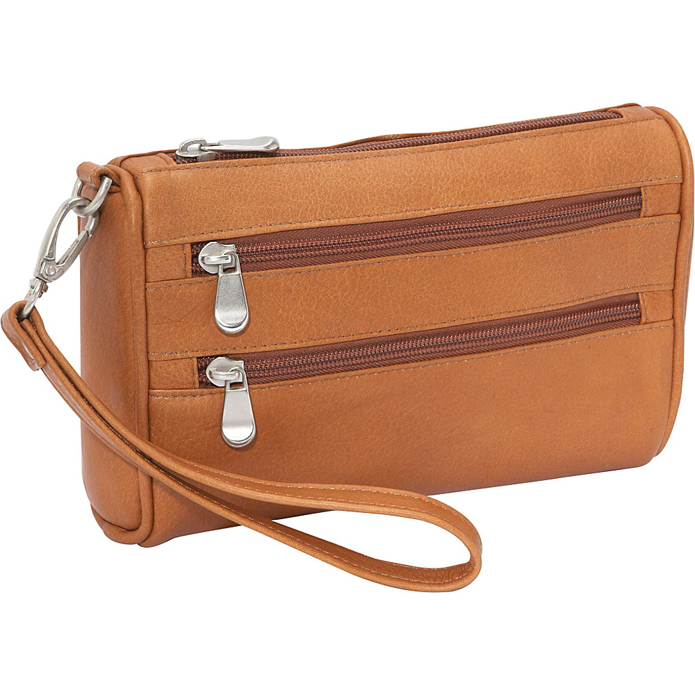 Le Donne Leather Two Zip Wristlet Clutch - Tan - Women's SLG, Women's Wallets