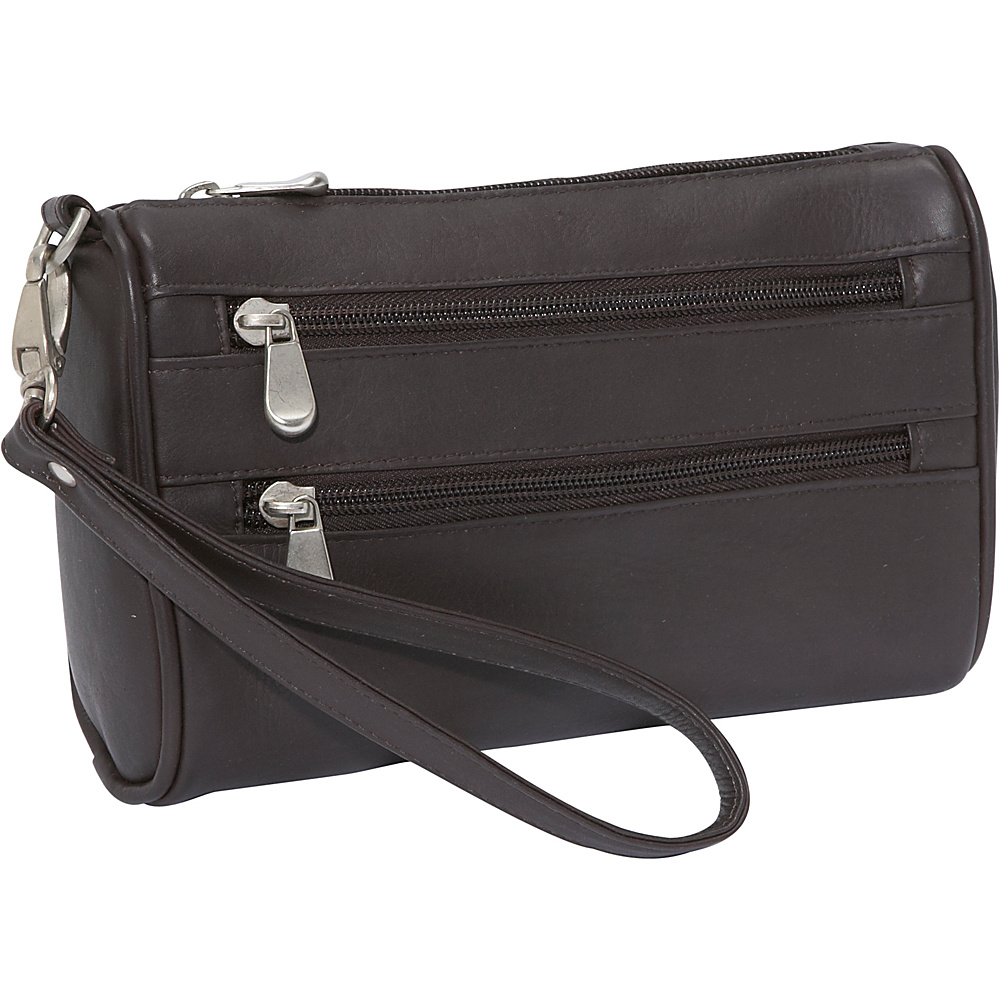 Le Donne Leather Two Zip Wristlet Clutch - Caf - Women's SLG, Women's Wallets