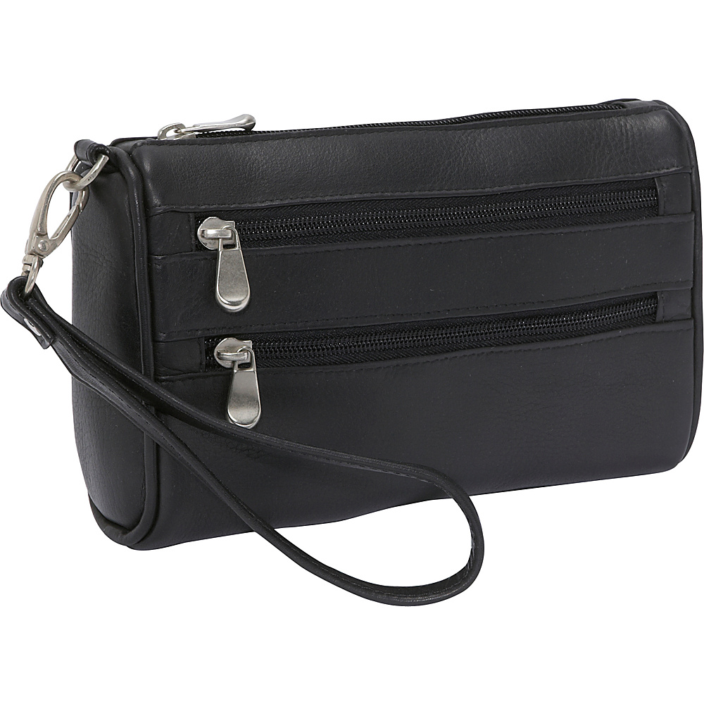 Le Donne Leather Two Zip Wristlet Clutch - Black - Women's SLG, Women's Wallets