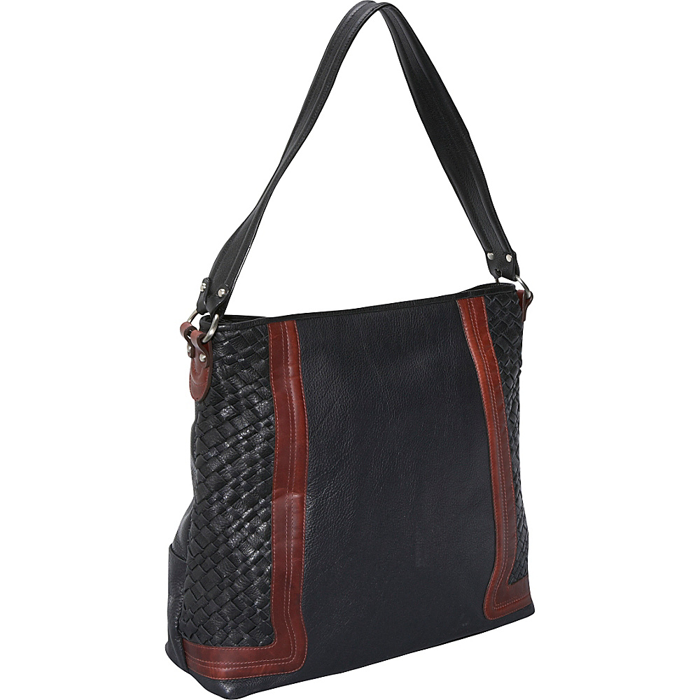Derek Alexander Large Shoulder Bag Black/Brandy - Derek Alexander Leather Handbags - Handbags, Leather Handbags