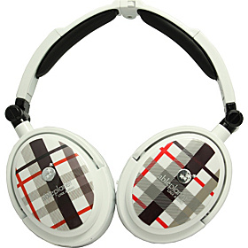 Extreme Foldable Active Noise Canceling Headphones White Plaid