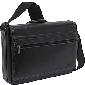 A Stitch In Time - Leather Messenger Bag Black