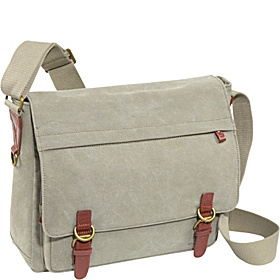 Khaki Canvas Laptop Messenger Bag Khaki