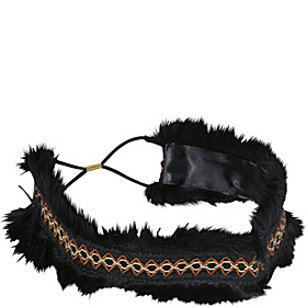 Faux Fur and Bead Wide Headband Black