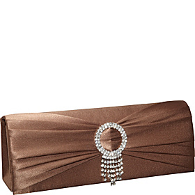 Pleated Circle Satin Clutch Bronze