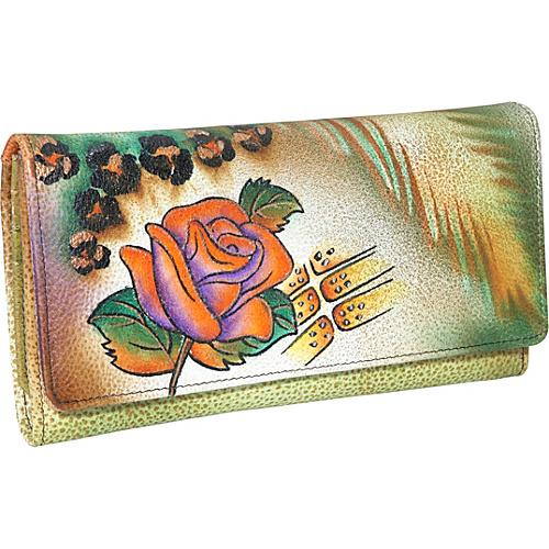 ANNA by Anuschka Checkbook Wallet Clutch - Jungle Rose