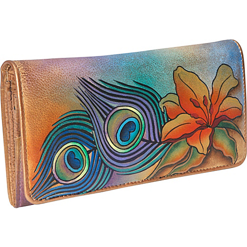 Anuschka Accordion Flap Wallet - Peacock Lily - Peacock