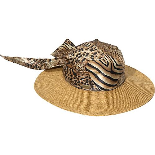 Cappelli Paper Braid Hat With Animal Print Scarf - Tea