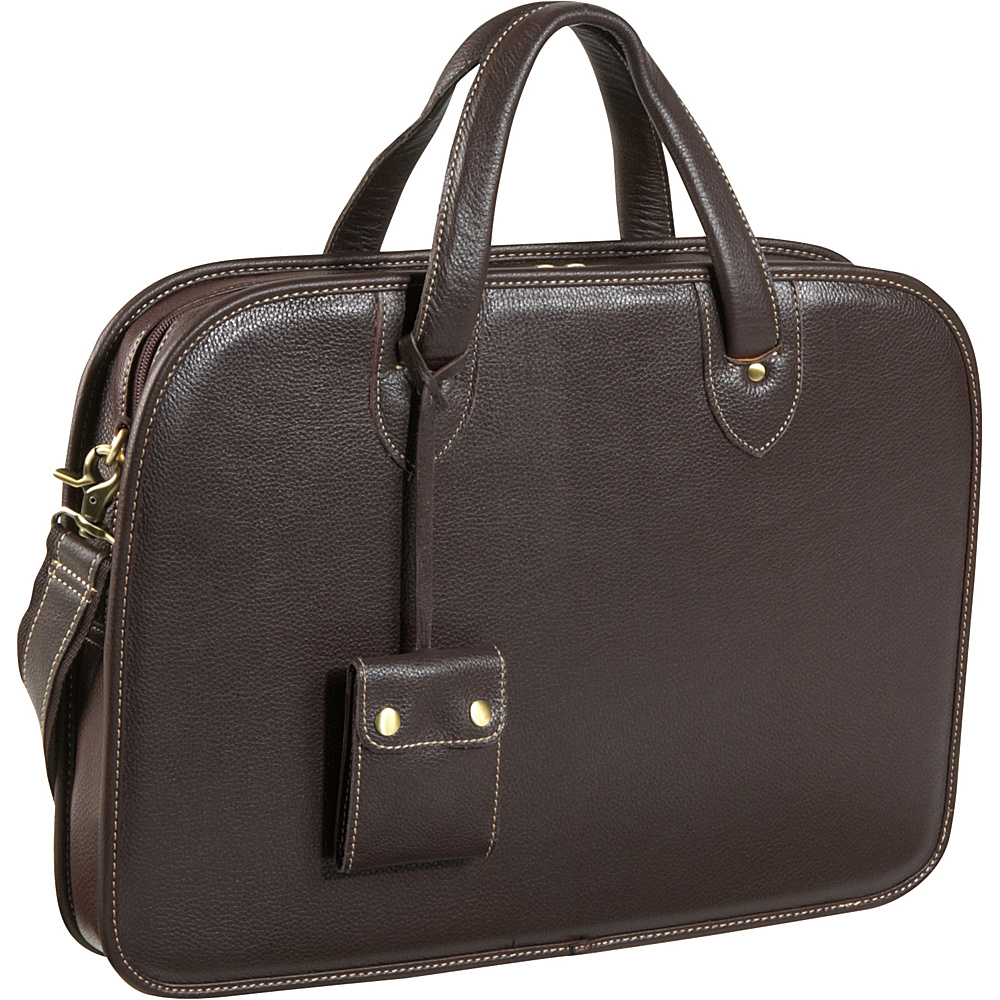 AmeriLeather Laptop Commuter Portfolio - Dark Brown - Work Bags & Briefcases, Non-Wheeled Business Cases