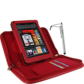 Executive Portfolio Leather Case & Stylus for Amazon Kindle Fire Tablet Red