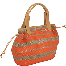 Paper Straw mix stripe drawstring tote Orange/Mix
