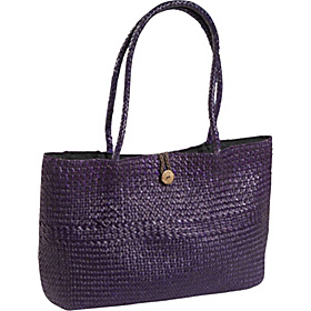 Seagrass Straw East/west Button Tote Purple